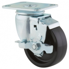 Agila - 267FPOO3.5x1.25P52-95x70 - Swivel Casters with wheel brake 3.50 inch -