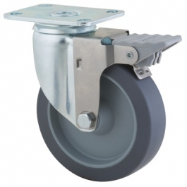 Agila - 2675PJO4x1.25P52-95x70 - Swivel Casters with wheel brake 4.00 inch -