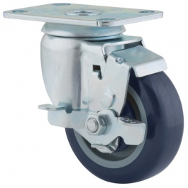 Agila - 267FPAP3x1.25P52-95x70 - Swivel Castors with wheel brake 76 mm -