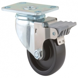 Agila - 2675POO3x1.25P52-95x70 - Swivel Casters with wheel brake 3.00 inch -