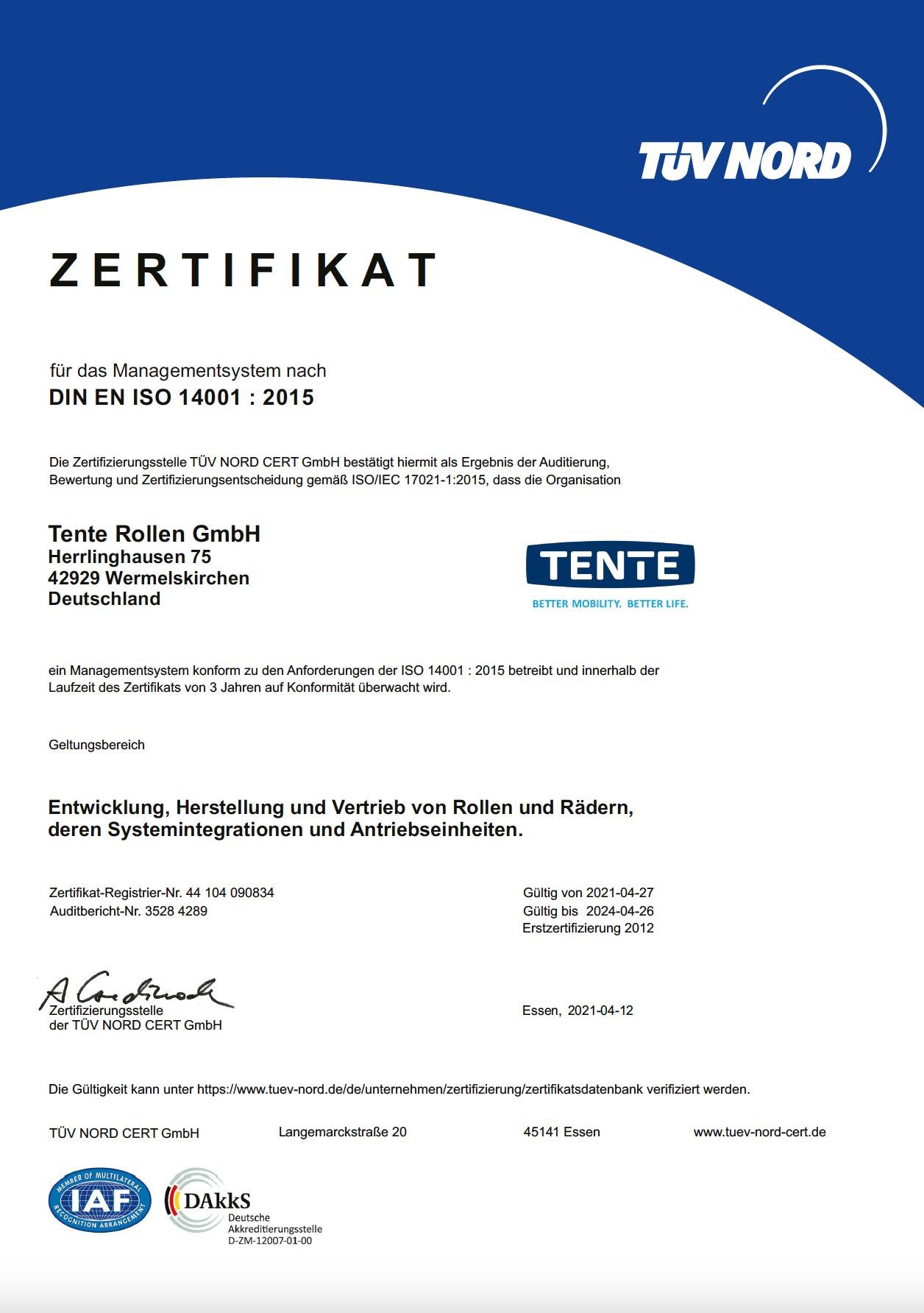 ISO 14001-sertifikat – TENTE Rollen GmbH