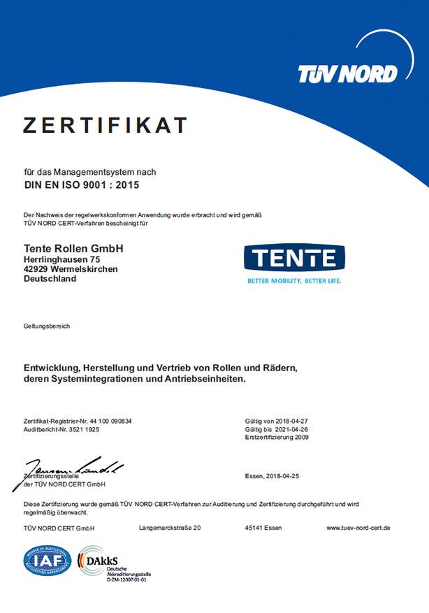 ISO 9001-sertifikat – TENTE Rollen GmbH