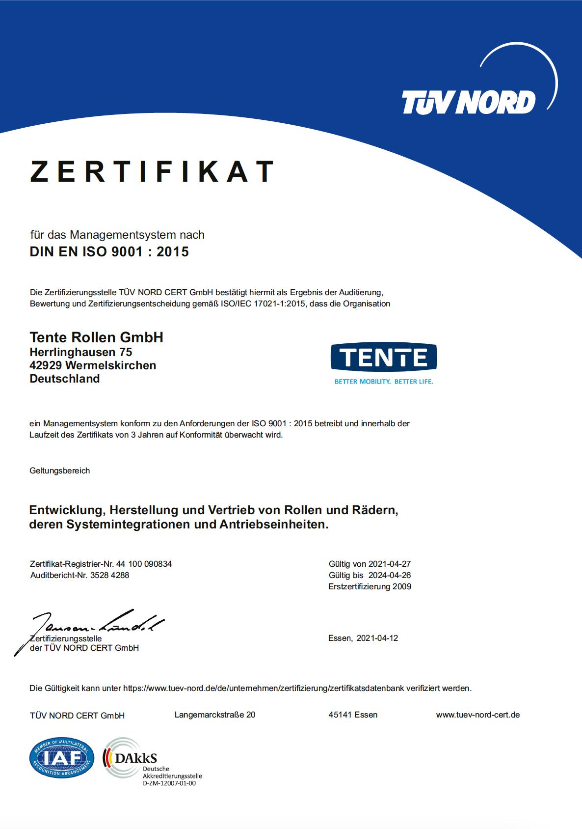 Certificate ISO 9001 - TENTE Rollen GmbH