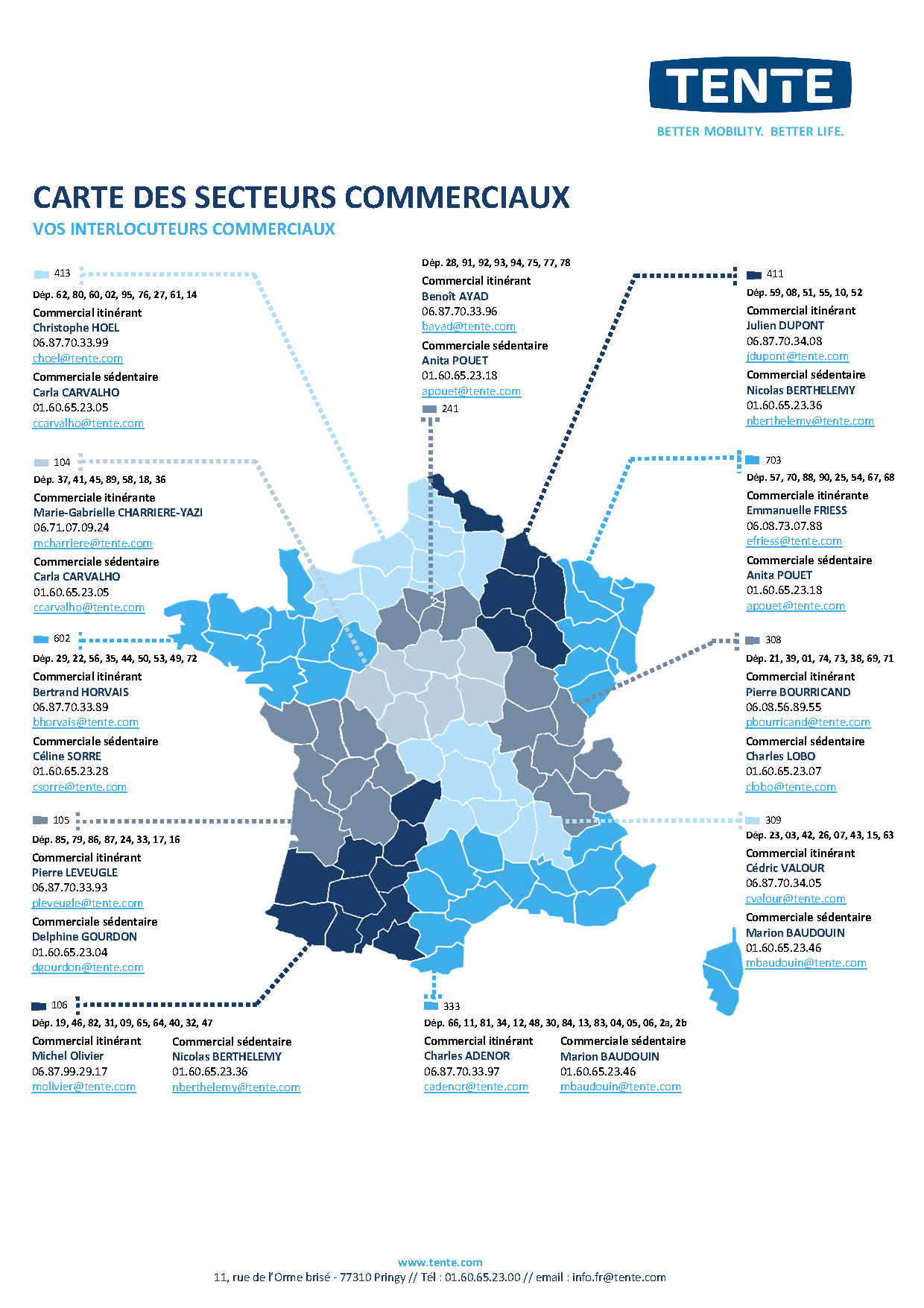 Map of commercial sectors